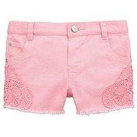 Mini V by Very Toddler Girls Crochet Trim Denim Shorts – Pink, Pink, Size Age: 3-6 Months, Women
