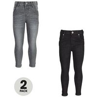 Mini V by Very Boys 2 Pack Black & Grey Wash Skinny Jeans, Black/Grey, Size Age: 4-5 Years