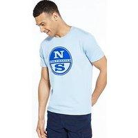 North Sails Logo T Shirt, Sky Blue, Size S, Men