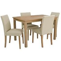 Product photograph showing Primo 120 Cm Dining Table 4 Faux Leather Chairs