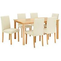 Product photograph showing Primo 150 Cm Dining Table 6 Faux Leather Chairs
