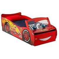 Product photograph showing Disney Cars Lightning Mcqueen Toddler Bed With Light Up Windscreen By Hellohome