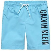 Boys, Calvin Klein LARGE LOGO SWIMSHORT, Turquoise, Size Age: 10-12 Years=L