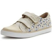 Clarks Gracie Pip Girls Shoes, Cotton Combi, Size 9 Younger