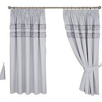 Product photograph showing Franchesca Faux Silk Lined Pencil Pleat Curtains