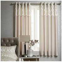 Ideal Home Florence Geometric Lined Eyelet Curtains