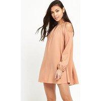 Glamorous Cold Shoulder Swing Dress - Pink, Pink, Size 8, Women