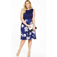 Ax Paris Curve 2-In-1 Midi Fit And Flare Dress - Navy