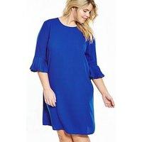 V by Very Curve CURVE Fluted Sleeve and Hem Shift Dress - Cobalt Blue, Cobalt Blue, Size 22, Women