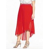 ELVI Curve Pleated Chiffon Skirt, Red, Size 24, Women