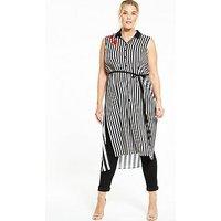 ELVI Curve Stripe Sleevless Shirt Dress, Stripe, Size 20, Women
