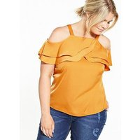 Lovedrobe Cold Shoulder Ruffle Detail Top, Mustard, Size 16, Women