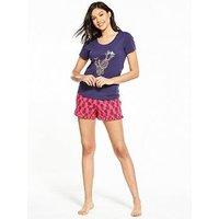 V by Very Pina Colada Short Pyjama Set, Navy/Pink, Size 22-24, Women