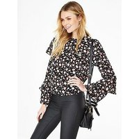 V by Very Fluted Sleeve Blouse, Print, Size 16, Women