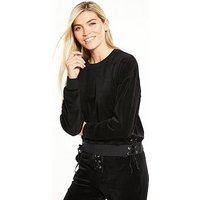 Juicy Couture Trk Lace-up Pullover, Pitch Black, Size Xs, Women