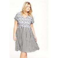 LOST INK CURVE Smock Dress In Mixed Print, Multi, Size 24, Women