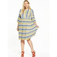 LOST INK CURVE Pleated Hem Dress In Stripe, Multi, Size 22, Women