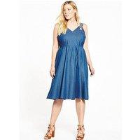 LOST INK CURVE CURVE Pinafore Denim Dress With Floral Straps, Mid Denim, Size 24, Women