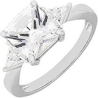 Love GOLD 9 Carat White Gold Square and Triangle Cubic Zirconia Ring, One Colour, Size L, Women