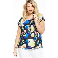 V by Very Curve CURVE Double Pocket Shell Top - Floral Print, Print, Size 24, Women