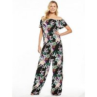 V by Very Printed Frill Bardot Jumpsuit, Print, Size 8, Women