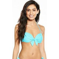 V by Very Bow Front Underwired Bikini Top - Blue, Blue, Size 38E, Women