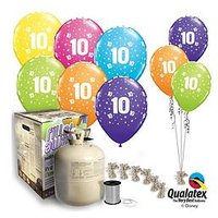 Tropical Colour Birthday Ages Helium Canister &Amp; Balloon Kit