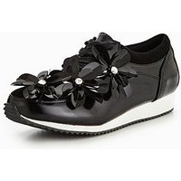 Lost Ink 3D Floral Trainers, Black, Size 3, Women