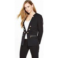 V by Very Ponte Military Jacket, Black, Size 8, Women