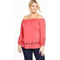 V by Very Curve Lace Trim Bardot Jersey Top, Watermelon, Size 18, Women