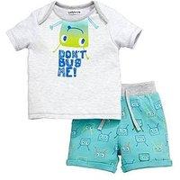 Ladybird Baby Boys Bug Tee & Short Set, Grey/Blue, Size Age(Months): 0-3 Months