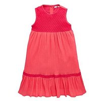Mini V by Very Mini V by Very Mini V by Very Girls Broderie & Crochet Midi Dress, Pink, Size 18-24 Months, Women