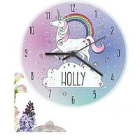 Personalised Unicorn Clock, One Colour, Women