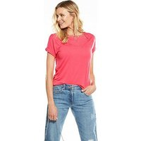 V by Very Embroidered Neck Tee, Coral Pink, Size 8, Women