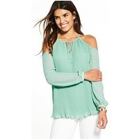 V by Very Cold Shoulder Pleat Blouse, Mint, Size 10, Women
