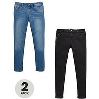 V by Very 2 Pack Skinny Jeans With Stretch, Black/Mid Wash, Size 11 Years, Women