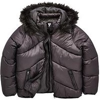 V by Very Girls Padded Coat, Black, Size Age: 14 Years, Women