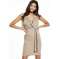 Alter Wrap Front Mini Dress, Nude, Size 16, Women