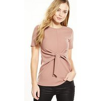 V by Very Knot Front Crepe Top, Pink, Size 20, Women
