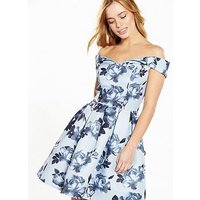 Chi Chi London PETITE Bardot Floral Dress - Blue, Blue, Size 12, Women