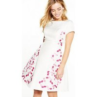 Chi Chi London Petite Embroidered Dress - Cream