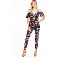 V by Very Cold Shoulder Tie Waist Jumpsuit, Navy Floral, Size 10, Women
