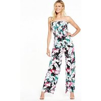 V by Very Strapless Shirred Top Jumpsuit, Multi Floral, Size 8, Women