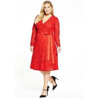 LOST INK CURVE CURVE Premium Wrap Lace Dress - Red, Red, Size 14, Women