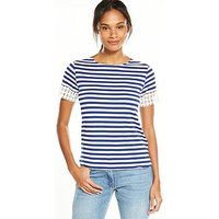 V by Very Circle Crochet T-shirt, Stripe, Size 16, Women