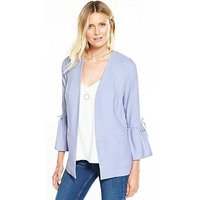 V by Very Fluted Tie Sleeve Jacket, Soft Blue, Size 12, Women
