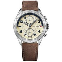 Tommy Hilfiger Tommy Hilfiger Hudson Cream Multi Dial Brown Leather Strap Mens Watch, One Colour, Men