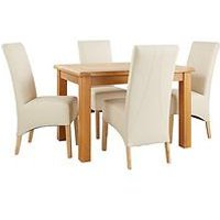 Very Oakland 120Cm Solid Wood Dining Table + 4 Eternity Chairs L4Y3N