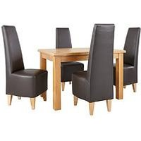 Very Oakland 120Cm Solid Wood Dining Table + 4 Manhattan Chairs L4Y3P