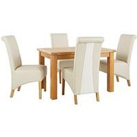 Very Oakland 120Cm Solid Wood Dining Table + 4 Sienna Chairs L4Y3Q